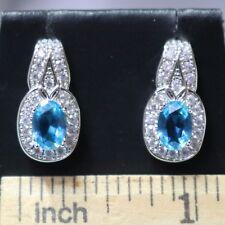 White Gold Plated Blue Aquamarine Earrings Wedding Anniversary Stud Jewelry Gift