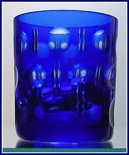 COBALT BLUE 1 OZ Shot Glass CUT TO CLEAR LEAD CRYSTAL Lausitz EAST GERMANY