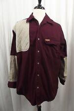 Woolrich Mens LARGE 42 44 Burgundy Khaki Btn Down Casual Shirt Outdoors L/S L