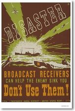 Disaster - Broadcast Receivers - NEW Vintage WW2 Art Print POSTER