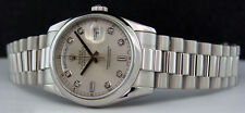 ROLEX - Mens 36mm Platinum Day-Date President Silver Diamond - 118206 SANT BLANC