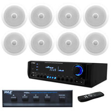 "8) 300W 8"" In-Ceiling Speakers & Speaker Selector, Pyle Home USB SD AUX Receiver"