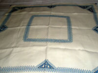 "Vintage Tablecloth Cotton Blend 31"" x 32"" Lt. Beige Blue"