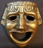 """Brass Colored Mask Mayan, Roman,  Detailed Wall Hanging Mythical 5""""x4"""""""