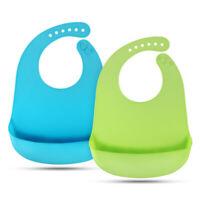 2PCS Baby Kids Silicone Waterproof Bibs Feeding Bib Roll up Food Catcher Pocket