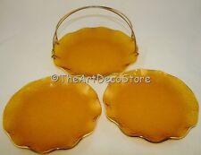 VINTAGE ART DECO SET OF 3 CAKE ANTIPASTI SERVING PLATES GILDED AMBER GLASS