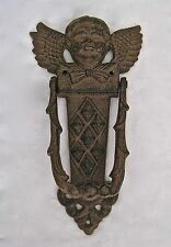 "Vintage Antique Cast Iron Door Knocker Angel Cherub 8 1/4"" Tall"