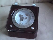 Rotating Desk Clock and World Map, CASED, VGC.