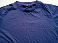 Mens DKNY Purple Short Sleeve Fitted T Shirt Size L Large