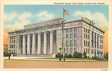 Kansas City KS~Wyandotte County Court House~Early Streetlight~Globe Lamps~1940s