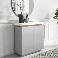 Small Grey & White Gloss Sideboard with Copper Inlay - Vivienne