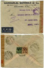 MALAYA WW2 DOUBLE CENSORED SINGAPORE + CALCUTTA TRIANGLE AIRMAIL 13 MARCH 1940