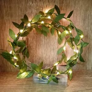 Flower Arrange Leaf Garland With Battery Operated Copper Led Fairy String Lights
