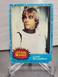 1977 STAR WARS LUKE SKYWALKER BLUE SERIES #1 MARK HAMILL TOPPS ROOKIE CARD.