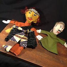Vintage Puppet Lot (2) Folk Art Handmade Paper Mache Plaster PRIORITY MAIL