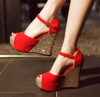 Womens open Toe Platform Buckle Ankle Sequin High Heel Wedge  Sandals shoes