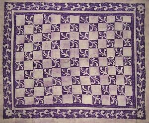 "Patchwork Batik Tapestry Cotton Spread 108"" x 88"" Full-Queen Purple"