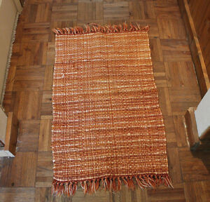Vintage Hand Knotted India Rug Cotton Accent Rust Tan  20 in x 31 in