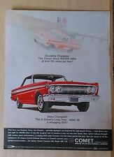 1964 magazine ad for Mercury - red Comet Caliente, Durability Champ