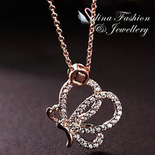 18K Rose Gold Plated Simulated Diamond Beautiful Angel Butterfly Necklace