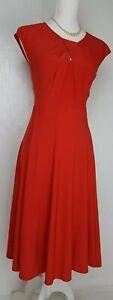 Roman Originals Dress size 16 Orange midi flared stretch DEFECT