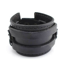 Vintage Gothic PU Leather Buckle Punk Cuff Bangle Wrist Band Bracelet Adjustable