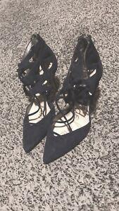 SAM EDELMAN Women's Sz 8.5M Suede Harlow Blue Ankle Strap Stilettos Heels