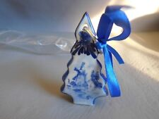 DÉCORATION SAPIN DE NOEL PORCELAINE CÉRAMIQUE BLANC BLEU RUBAN HOLLANDE MOULIN