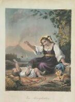 Incisione di French Napoli: Vesuvio e contadina con bambino Metà '800 (M15) Come