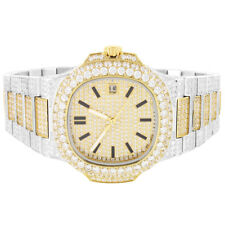 2 Tone Custom Watch Stainless Steel Gold Silver Tone Simulated Diamond Analog