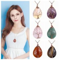 Natual Gems Copper Wire Wrap Tree of Life Teardrop Bead Pendant Necklace Gift