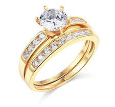 2.10 Ct Round Cut Engagement Wedding Ring Set Real 14K Yellow Gold Matching Band