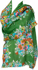 Sommer Schal Baumwolle Seide, Floralmuster grün türkis shawl wool silk flowers