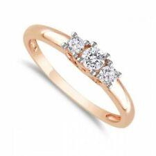 0,60 Cts F/VS1 Ronde Brillante Couper Diamants Trois-Pierres Bague En 750 18K Or