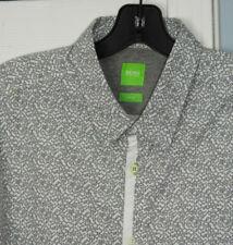 HUGO BOSS GREEN LABEL black on white geometric print  L/S slim XL  (44' chest)