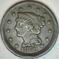 1852 Braided Hair Liberty Head Large Cent US Copper Type One Cent Coin VG K36