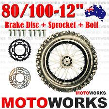 "80/100 -12"" Inch Rear Back Wheel + Sprocket Disc Bolt Dirt Pit PRO Trail Bike S"
