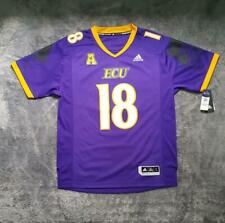 Men's NCAA Adidas ECU Pirates Premier Football Jersey No #18 Purple