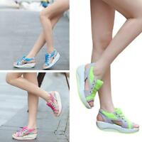 Women Rocker Creeper Platform Bottom Sandal Peer Toe Shape Up Summer Shoes - S