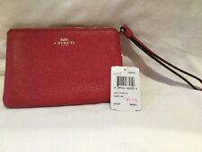 $75 NWT COACH F58032 RED Crossgrain Leather Corner Zip Wristlet Mini Purse