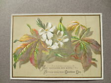 Antique CHRISTMAS Card Blossom Flowers Happiness & Mirth  Victorian Chromo Litho