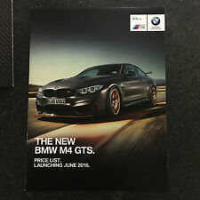 BMW F82 M4 GTS COUPE SALES SHOWROOM BROCHURE & PRICE LIST, LITERATURE / BOOKLET
