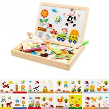 Kids Puzzle Wooden Educational Toys Magnetic Art Easel Animals Games Fun