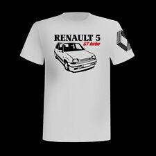 T-SHIRT MANICHE CORTE BIANCA RENAULT 5 GT TURBO AUTO VINTAGE FRANCESE