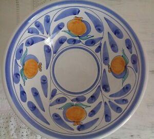 Vintage Desuir Stefano Camastra Hand Painted Blue&White Pomegranate Serving Bowl