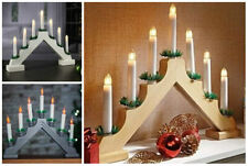 Large Flickering Wooden Christmas LED Candle Bridge Festive Home Decor Pre Lit