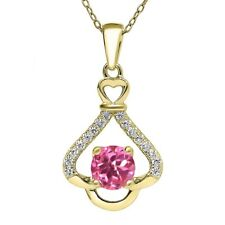 1.16 Ct Round Pink Mystic Topaz 18K Yellow Gold Plated Silver Pendant