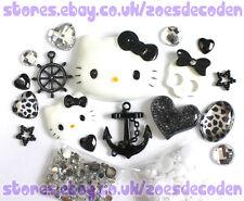 3D DIY Cell Phone Case black Kawaii Hello Kitty anchor cabochon Deco Den Kit