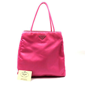 PRADA Handbag triangle logo nylon pink B8927