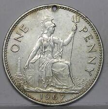 More details for elizabeth ii error penny, 1967. off metal strike, nickel? magnetic. 9.56g. holed
